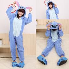 2015 Women Adult Unisex Cute Pajamas Flannel Pajamas Japan Cosplay Costumes Stitch Animal Cosplay Winter Sleepwear Dropshipping