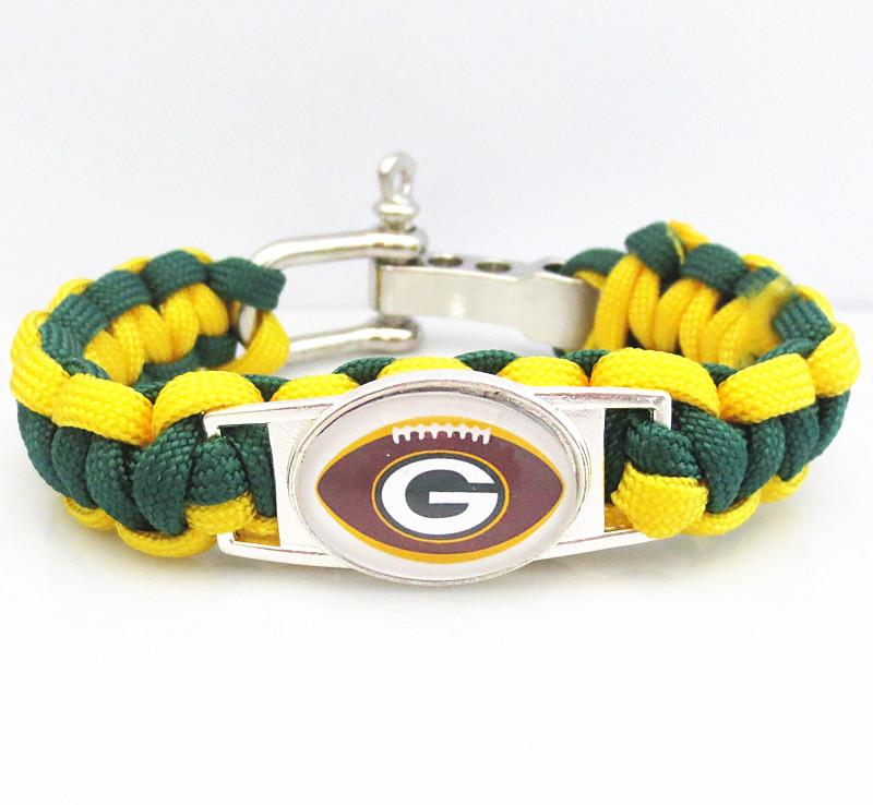 Wholesale factory team GREEN BAY PACKERS Paracord Bracelet sport fans Football Survival friendship bracelets PN04(China (Mainland))
