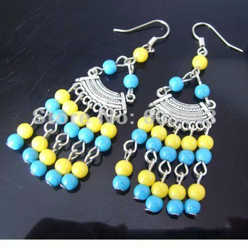 Free Shipping Bohemia Colorful Beads Tibetan Silver retro vintage exotic High fashion drop pendant earring Women/Girl's Jewelery