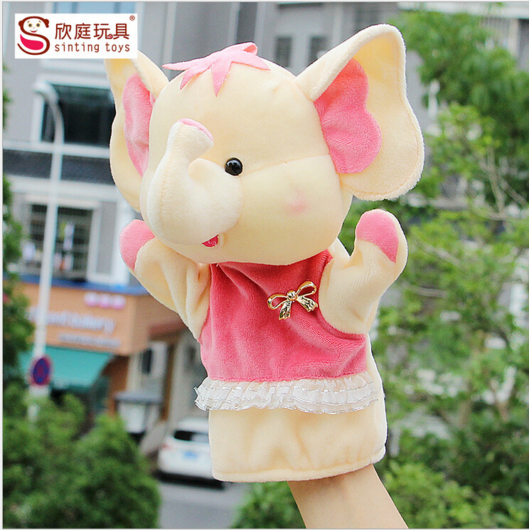 High-quality 27 cm large, super cute plush toy hand puppet, forest elephant toy animal hand puppet storytelling props(China (Mainland))
