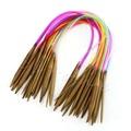 18Pcs 40cm 16 Carbonized Bamboo Knitting Needles Multicolor Tube Circular New
