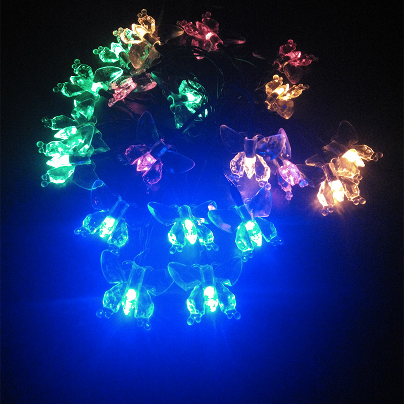 Creative Butterfly Solar LED Outdoor Lighting String Lamps Garden Decoration La luz Solar Christmas Lights Wedding 4.8m 20leds(China (Mainland))