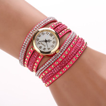2015 Hot new! 10 Colors, Vintage Women Diamond Clocks quartz watch luxury Braided Winding Wrap Rivet Bracelet Quartz Wristwatch