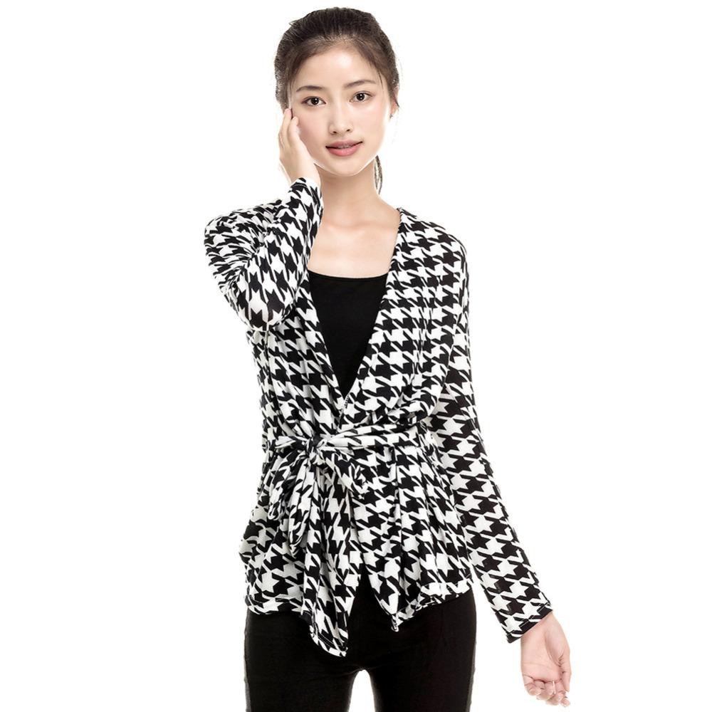 Fashion 2015 Spring Women's Long Sleeve Houndstooth Print Open Stitch Belt Peplum Slim Jacket Cardigan Coat Top Free Shipping(China (Mainland))