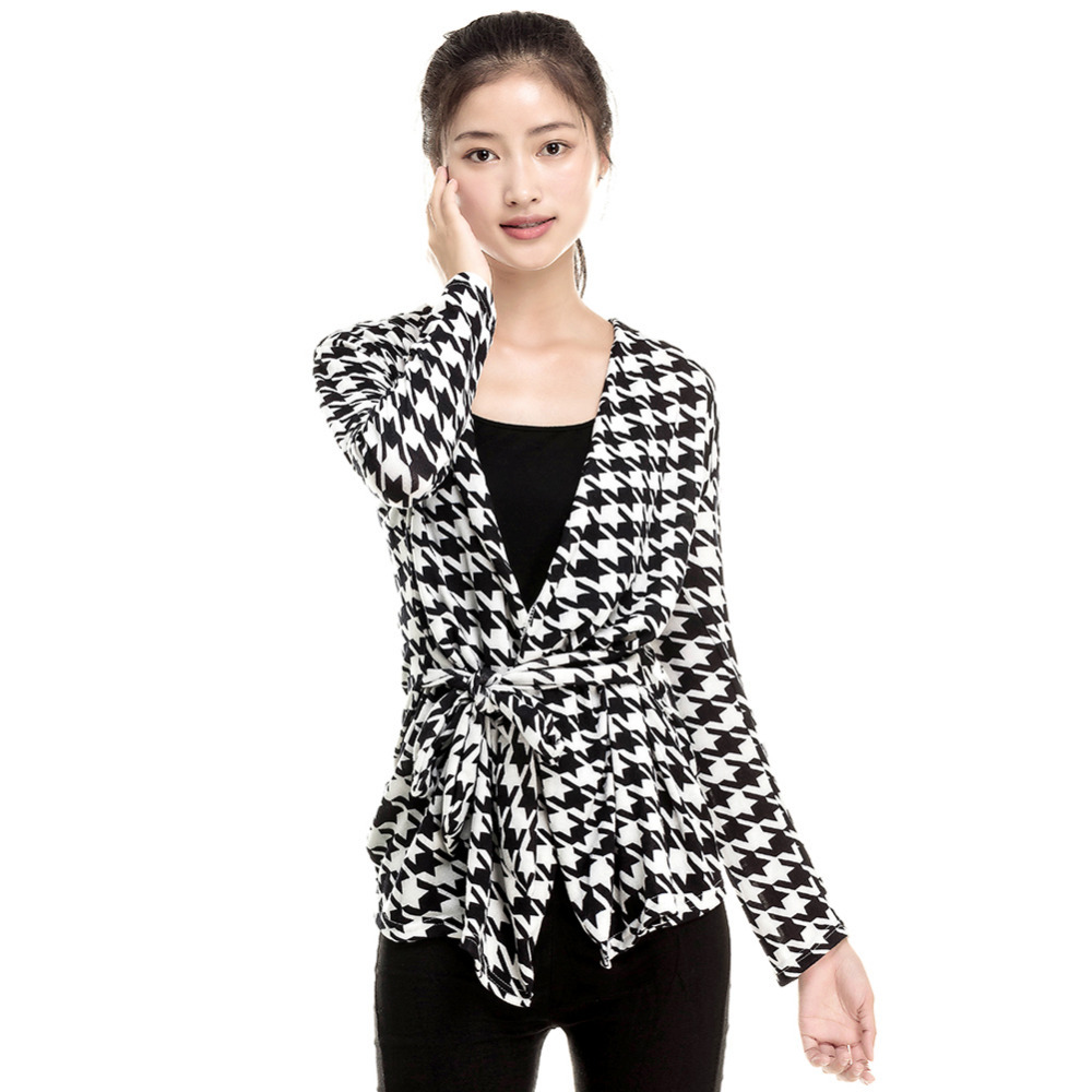 Fashion 2015 Spring Women's Long Sleeve Houndstooth Print Open Stitch Belt Peplum Slim Jacket Cardigan Coat Top Free Shipping(China (Mainland))