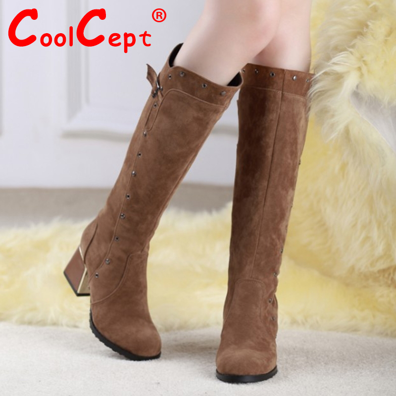 CooLcept Free shipping over knee high heel boots women snow fashion winter warm footwear shoes boot P15647 EUR size 30-49<br><br>Aliexpress