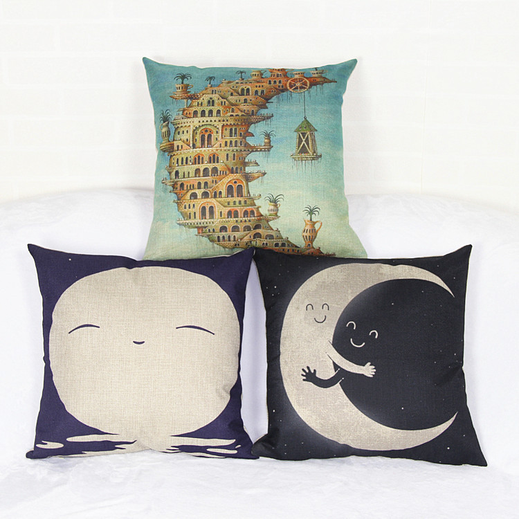 2015 free shipping square home room pillow case cushion cover bright moon castal vintage stytle loveumom(China (Mainland))