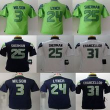 Youth Seattle Seahawks #3 Russell Wilsons #12 Fan #24 Marshawn Lynch Kids navy grey white green, 100% stitched logo,camouflage(China (Mainland))