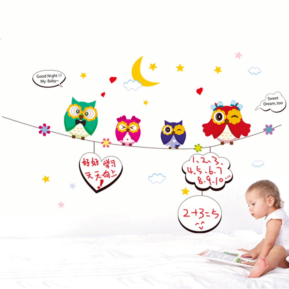 wall decals 6,415 environmentally friendly Queen writes children's room wall stickers OWL cute cartoon(China (Mainland))