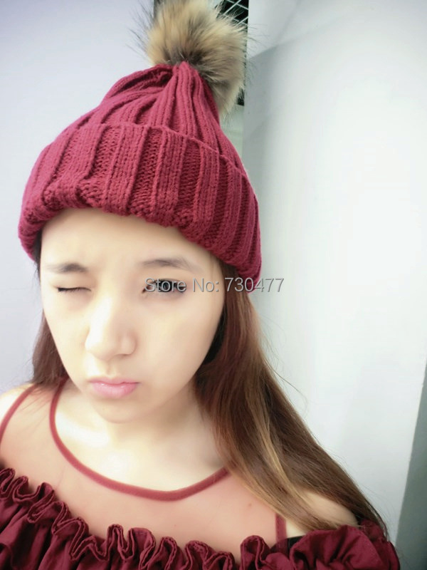 Men Women winter fashion candy colorful cap with rabbit fur ball part show hat(China (Mainland))