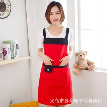 Korean-style sleeveless strap and oil pollution home restaurant waiter aprons waterproof aprons advertising custom kitchen(China (Mainland))