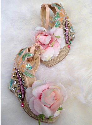 Beautiful sweet girl's pink flower wedge sandals bling bling colorful rhinestone design ankle buckles summer sandals beach shoes