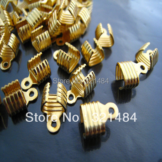 DIY 1000X Gold plated used for 5x2mm Flat leather cord necklace connector crimp ends caps buckle Clips Clasps<br><br>Aliexpress