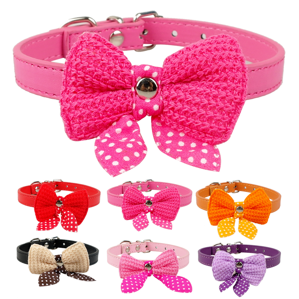 Cute Cat Puppy Dog Bowknot Collar Pink/Red/Orange/Pupple/Black/Rose XS/S(China (Mainland))