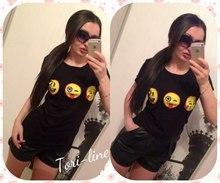 Women T shirt 3D Emoji Tops Fashion 2015 Printed Black White Tees Woman European Style Summer