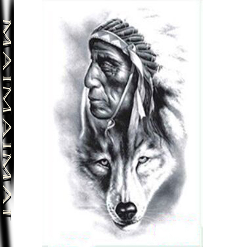 2016 Direct Selling Men New Fashion The Old Man And Wolf Flash Tattoo Waterproof Temporary Stickers Body Art Sexy 19x12cm Tz-528(China (Mainland))