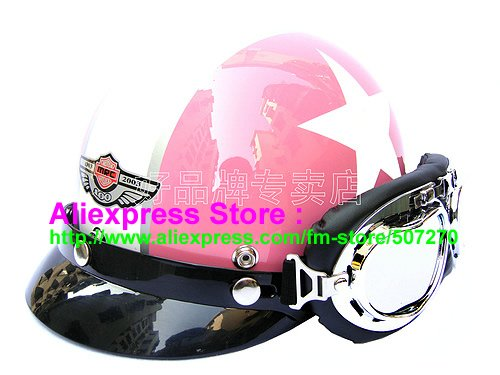 P.42 New ABS Half Bol Vespa Cycling Half Face Motorcycle Pink # White Star Helmet Visor & Silver Goggles SIZE M , L , XL(China (Mainland))