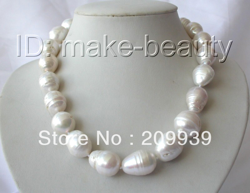 huij 001353 stunning big 22mm baroque white reborn keshi freshwater cultured pearl necklace<br><br>Aliexpress