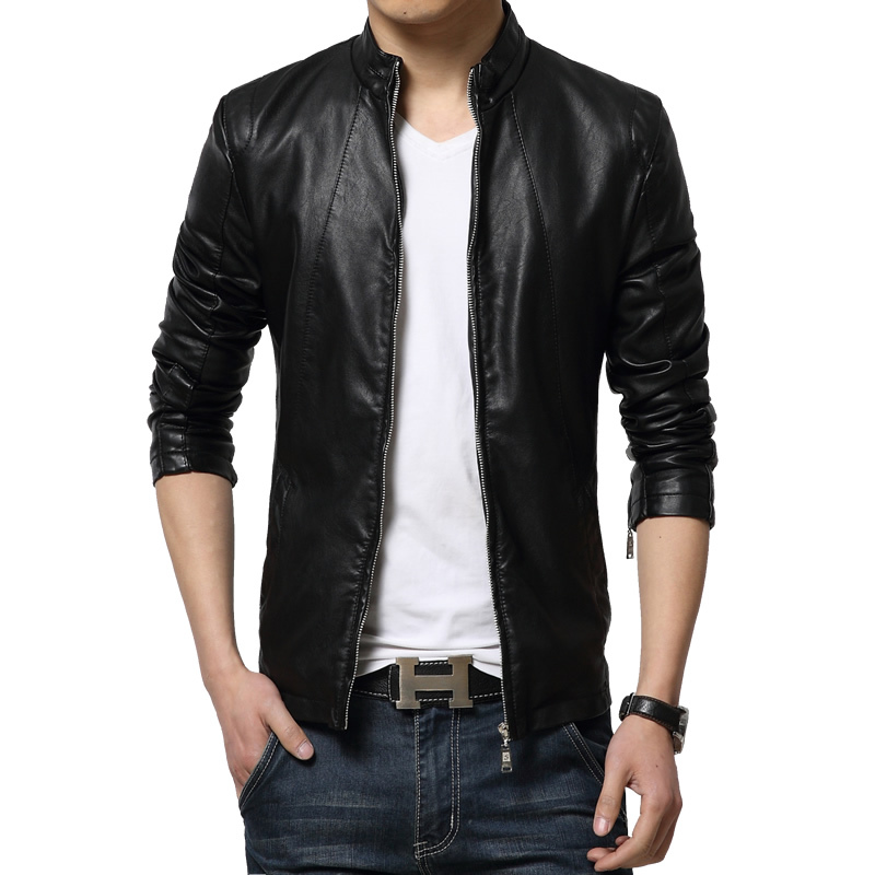 Men zipper fashion leather jacket contracted joker 2015 new popular style of pure color big size leisure locomotive furs (China (Mainland))