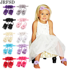 JRFSD 2017 Newborn Flower Headband barefoot sandal sets satin flower hair accessories for Photography props 13 colors pick(China (Mainland))