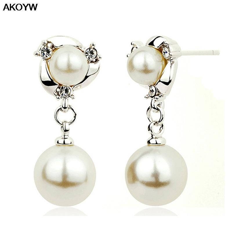 Silver plated high imitation pearl earrings ladies fashion high quality crystal jewelry manufacturers, wholesale earrings(China (Mainland))