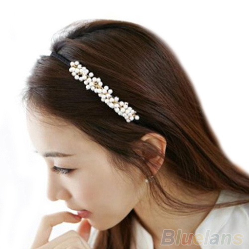 Bluelans Korean Sweet Women Girl Charm Pearl Hair Hoop Band Elegant Headband Headwear Hairbands Hairpin Top(China (Mainland))