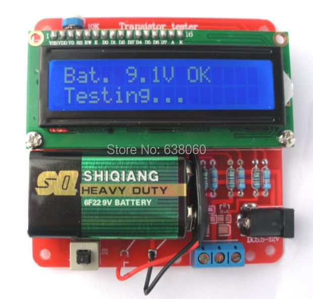 M328 Transistor Tester 1602 LCD Display Capacitance Multi-meter Inductor Capacitor ESR meter Inductance Resistor Free shipping(China (Mainland))