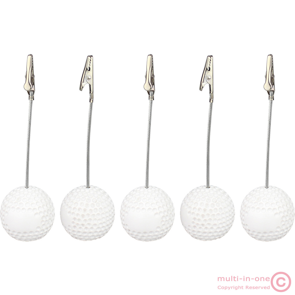 lot 5pcs golf ball alligator wire picture recipe desk card note memo photo clip holders,wholesale office table deco paper weight(China (Mainland))