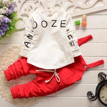 2016 new arrival Baby girls sets letter cotton strap suit Korea kids clothes child sets open crotch wholesale GD954