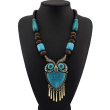 Fashion Tibetan Style Women Statement Necklaces Wood Chain Turquoise Big Owl Necklaces Pendants Boho Jewelry Maxi