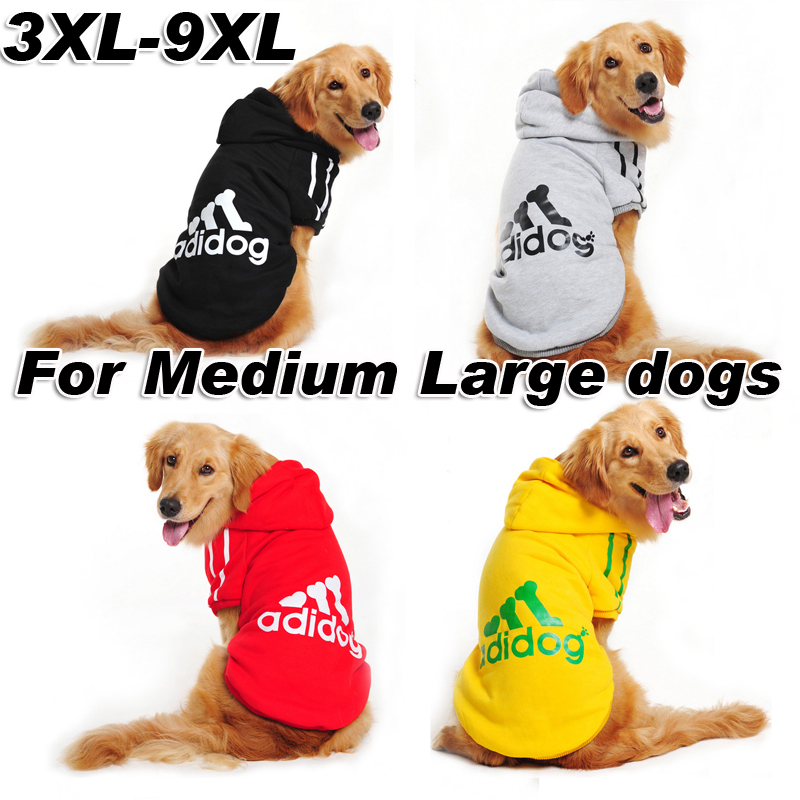 spring winter adidog large dog clothes hoodie coat red gray balck yellow pet costume for medium and big dogs XXXL 4XL-9XL(China (Mainland))