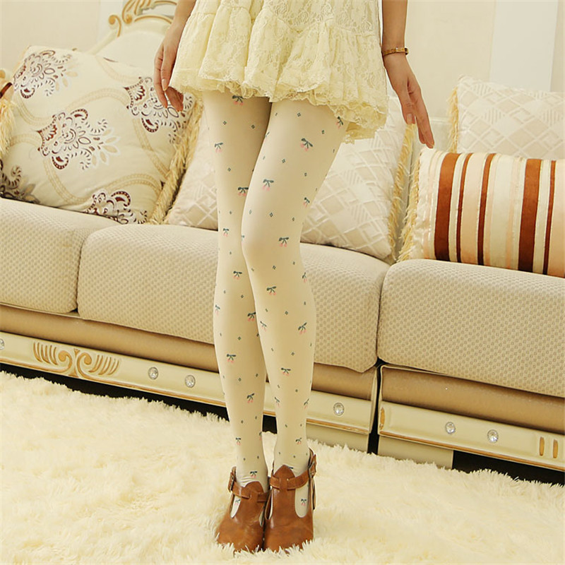 Women warm stockings high quality Cherry Printed pantyhose medias Sexy Slim was thin leggings collant femme Hot Sale(China (Mainland))