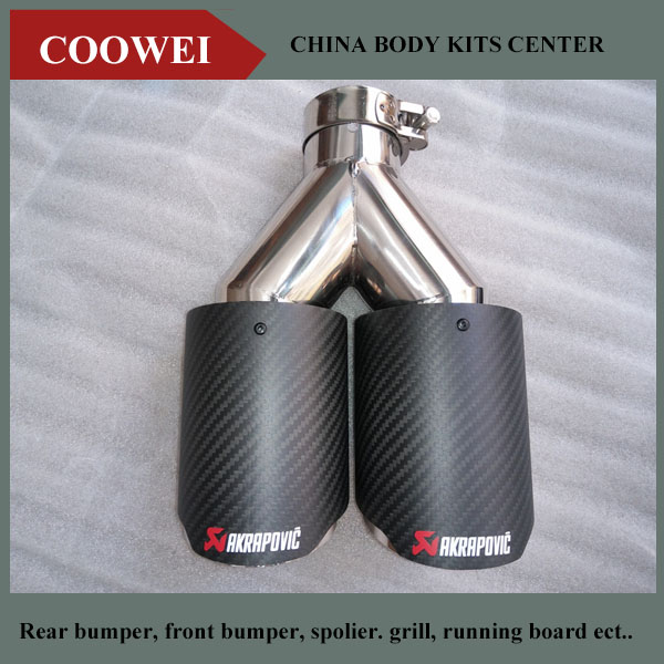 """2PCS 2.5"""" (63mm)Inlet 4.0"""" (89mm)Outlet AK Style Akrapovic Carbon Fiber Exhaust Tip Universal Muffler Tips Dual Pipe Quad Tips(China (Mainland))"""