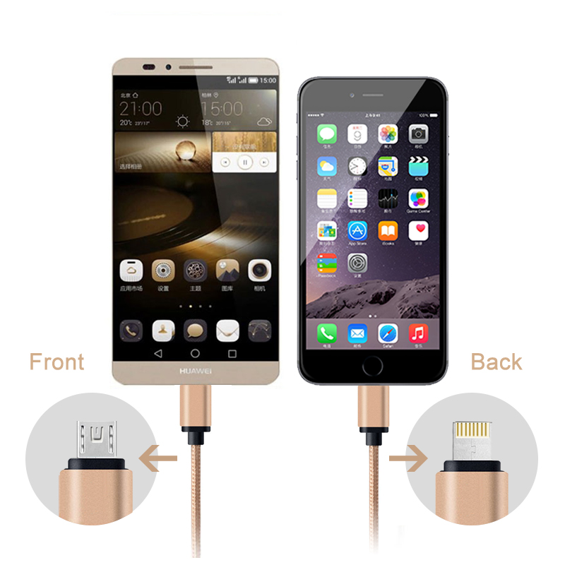 Micro USB 2.0 Metal Cable Dual Mobile Phone Date Cable case For iphone 4S 5 5s 6 6s plus for Samsung galaxy S3 S4 Accessories(China (Mainland))
