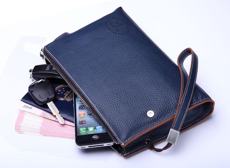 teemzone men's genuine soft leather casual vintage wrist day clutch handbag organizer clutch bag checkbook S3015(China (Mainland))