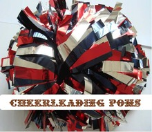"cheerleading Pom poms 3/4""x 6""~custom color metallic silver black and metallic red handmade new hot sale mini order 10 pieces(China (Mainland))"
