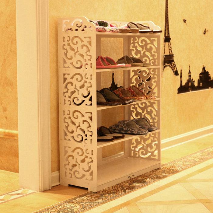White minimalist multilayer simple shoe storage environmental carved waterproof bathroom floor- shelf combination(China (Mainland))