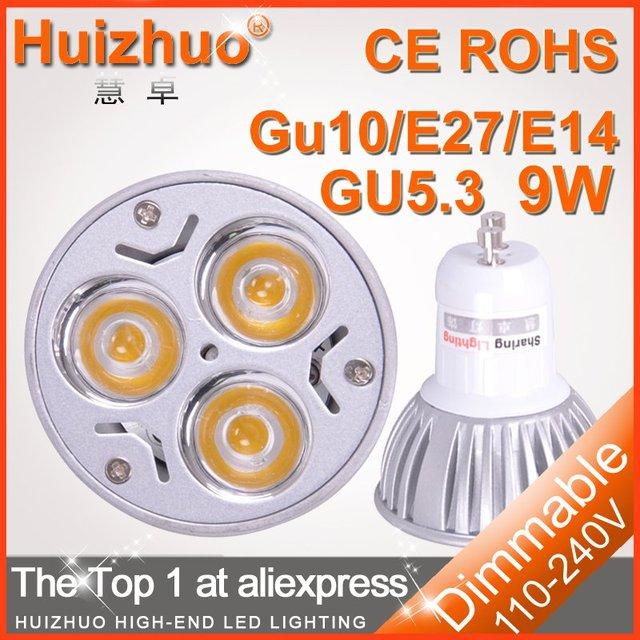 Holiday sale 100pcs/lot High power CREE GU10 / e27 / e14 / gu5.3 3x3W 9W 110 - 220V Dimmable cup Bulb LED Spot light