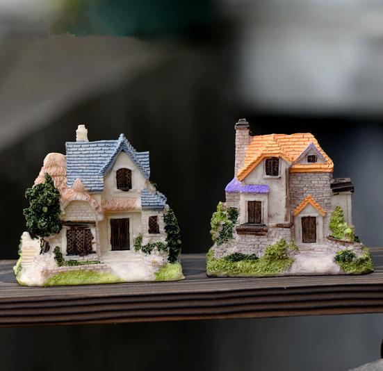 4 designs House Villa mini Buildings 5*8*8cm miniatures fairy garden gnome moss terrarium decor crafts bonsai home decor for DIY(China (Mainland))