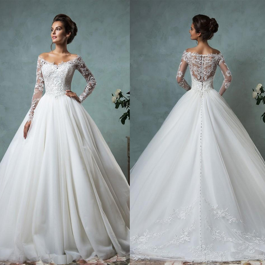 2016 Lace Tulle Wedding Dresses Vintage Spring Fall Off Shoulder Long Sleeve Bridal Gowns Plus