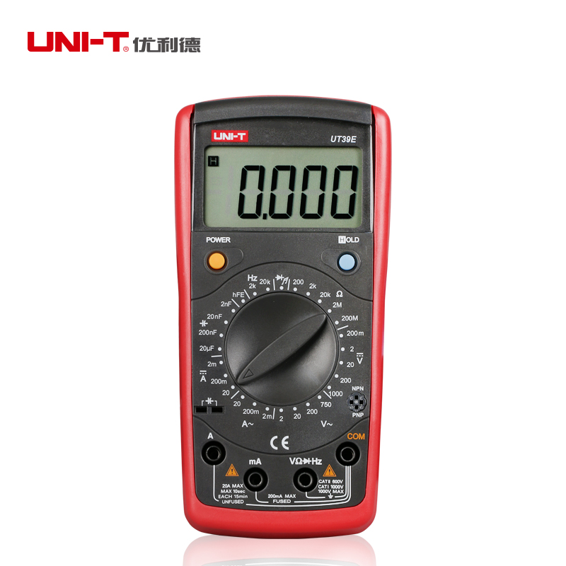 UNI-T UT39E General Manual Range Digital Multimeters UT 39E Transistor DC AC Volt Ampere Resistance Capacitance Frequency Meter(China (Mainland))