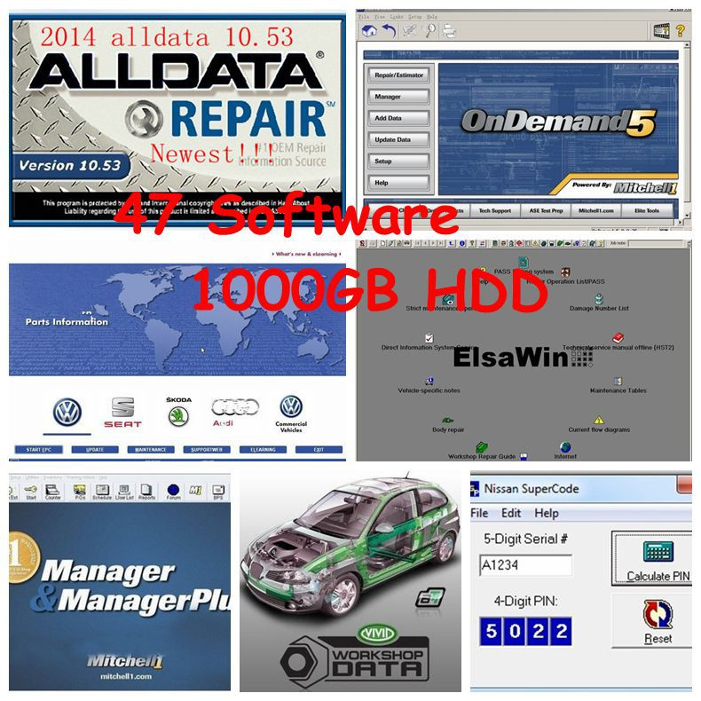 Hot sale 47 software Alldata 10.53 auto repair software + Mitchell on demand + Vivid Work Shop in 1000GB New USB HDD(China (Mainland))