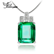 6.5ct Nano Russian Emerald Pendant Girls Pure Strong 925 Sterling Silver Jewellery Style For Girls Reward Wholesale 2015 Model New