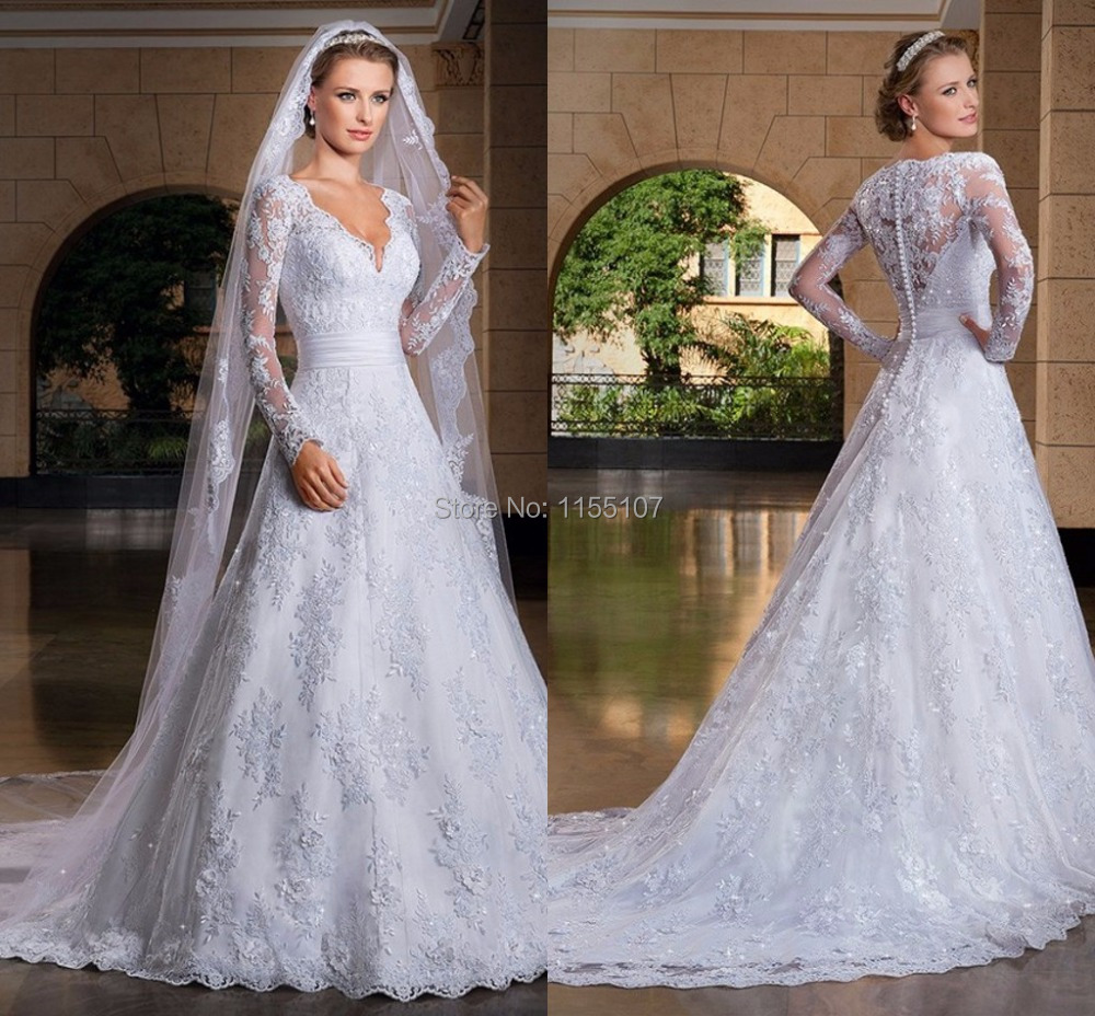 Romantic Princess Church Wedding Dresses 2016 New A-line V neck Long Sleeve Lace Appliques Court Train Bridal Wedding Gowns(China (Mainland))