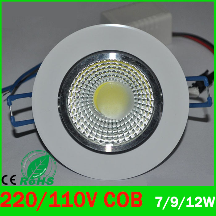 LED Downlight 7w 9W 12w LED COB chip downlight Recessed Ceilinglight LED Spot Light Lamp White/warm white led lamp epistar ZK93(China (Mainland))
