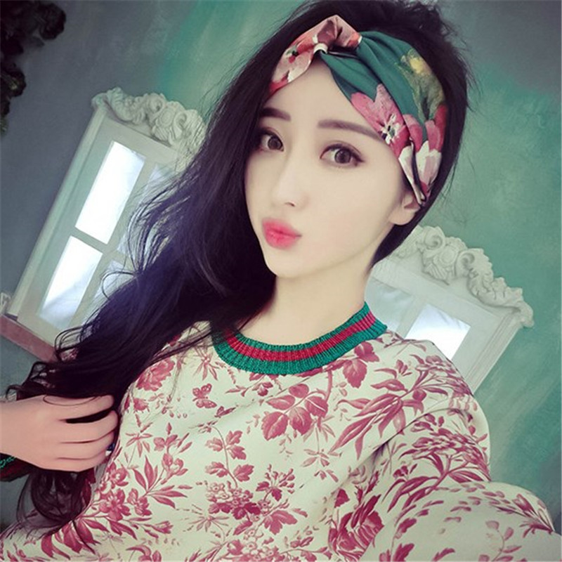 2016 Fashion Women Girl Head Wrap Hair Accessories font b Plaid b font Elastic Turban Floral