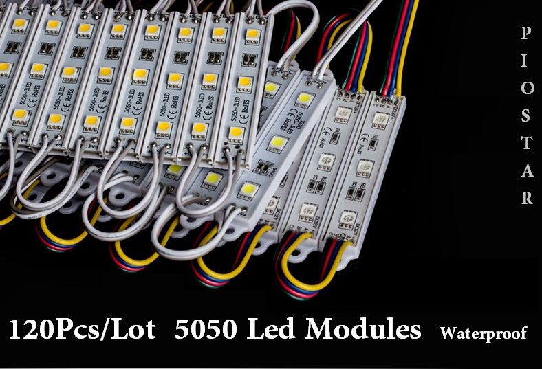 120pcs 5050 3 Led Modules Waterproof High Power IP68 DC 12V Yellow/Green/Red/Blue/White/Warm white <br><br>Aliexpress