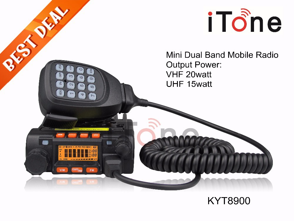 Mini Mobile Radio QYT KT8900 Dual Band 136-174/400-480MHz Mini Transceiver + Programming Cable 20W Car Radio Mini Mobile Radio(China (Mainland))