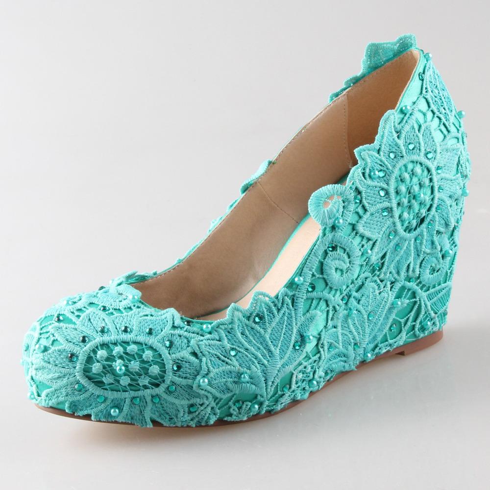 Aqua Blue Low Heel Shoes