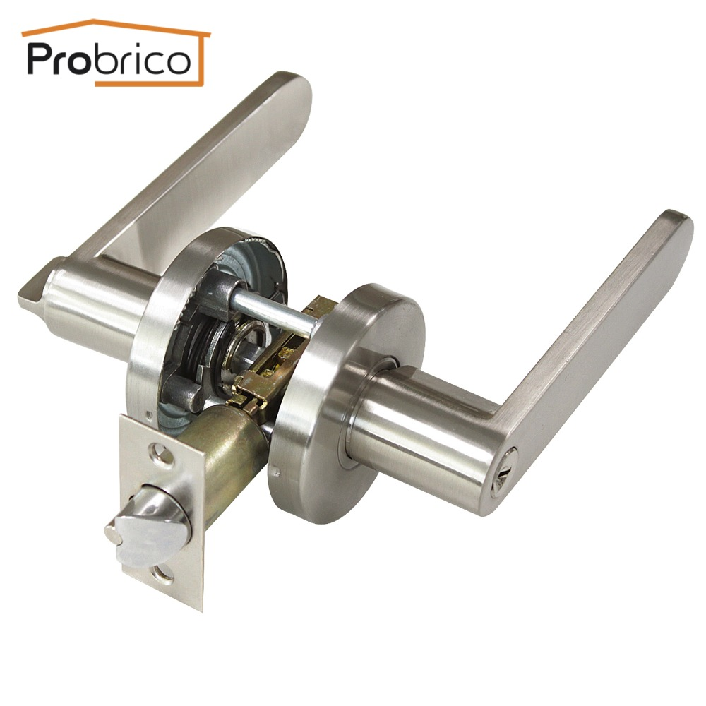 Probrico stainless steel security door lock with key safe for Key drawer handles